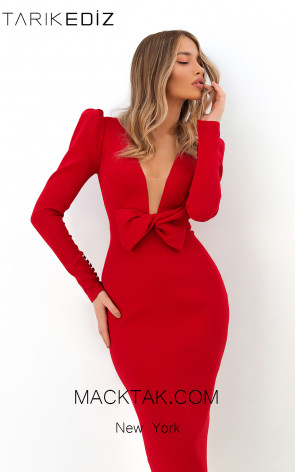 Tarik Ediz 93815 Red Front Evening Dress
