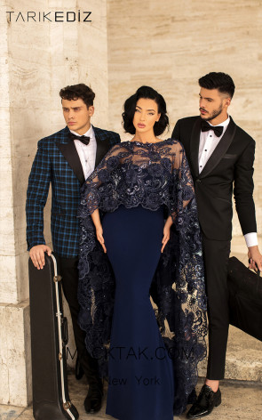 Tarik Ediz 93817 Navy Front Evening Dress