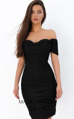 Tarik Ediz 93847 Black Front Dress