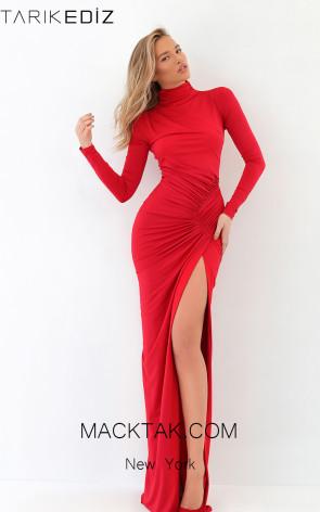 Tarik Ediz 93851 Red Front Evening Dress