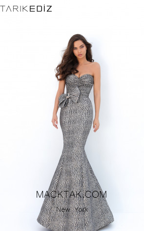 Tarik Ediz 93857 Gray Gold Front Evening Dress