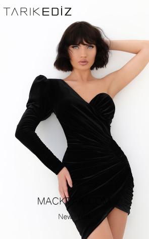 Tarik Ediz 93861 Black Front Evening Dress