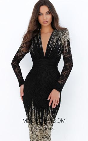 Tarik Ediz 93862 Black Gold Front Dress