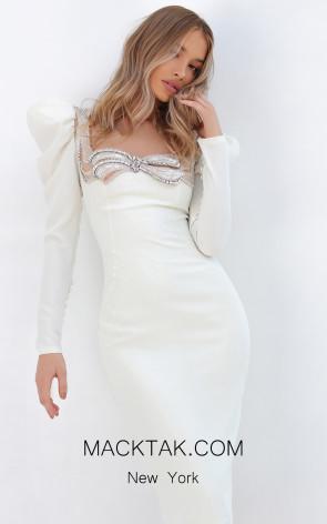 Tarik Ediz 93873 Ivory Front Dress