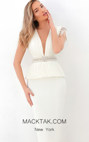 Tarik Ediz 93875 Ivory Front Dress