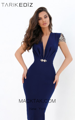 Tarik Ediz 93905 Navy Front Evening Dress
