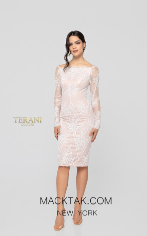 Terani 1911C9001 Ivory Silver Blush Front Cocktail Dress