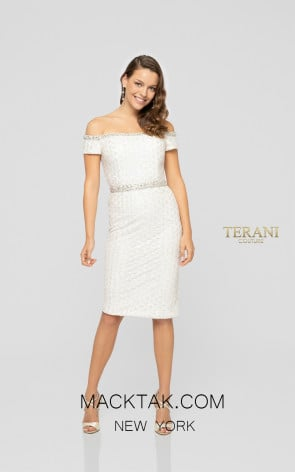 Terani 1911C9002 Ivory Silver Front Cocktail Dress