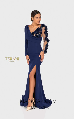 Terani 1911E9109 Navy Nude Front Evening Dress