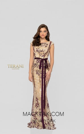 Terani 1911E9115 Beige Wine Front Evening Dress