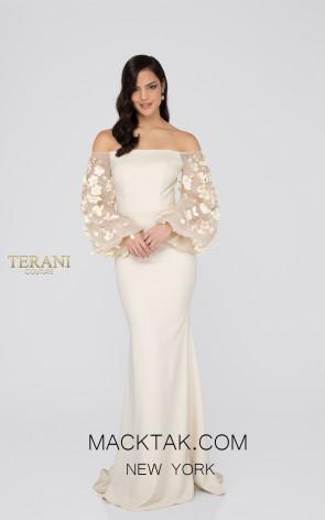 Terani 1911E9128 Sand Front Evening Dress