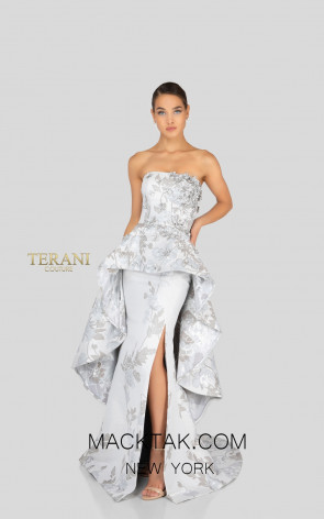 Terani 1911E9143 Silver Taupe Front Evening Dress