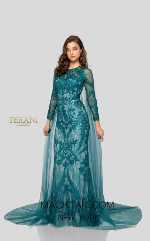 Terani 1911GL9468 Peacock Front Pageant Dress