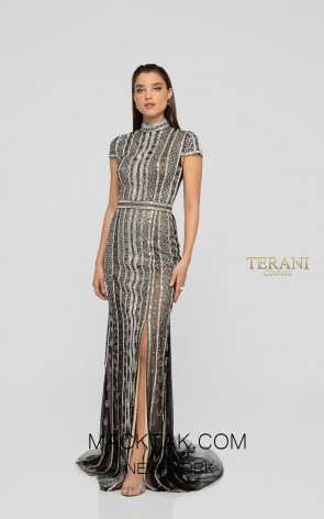Terani 1911GL9469 Black Gunmetal Front Pageant Dress