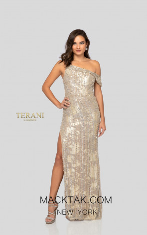 Terani 1911GL9510 Silver Gold Nude Front Pageant Dress