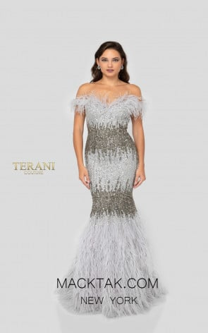 Terani 1911GL9512 Gunmetal Silver Front Pageant Dress