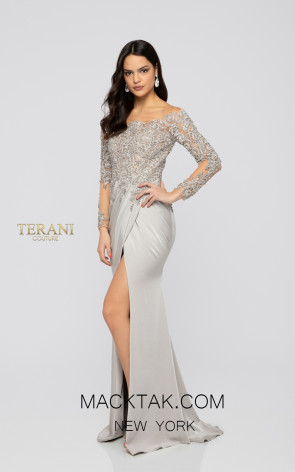 Terani 1911M9307 Mother of Bride Putty Front Dress