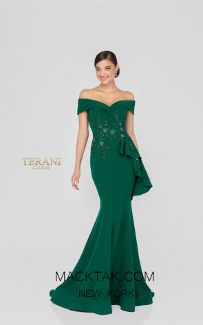 Terani 1911M9339 Mother of Bride Emerald Front Dress