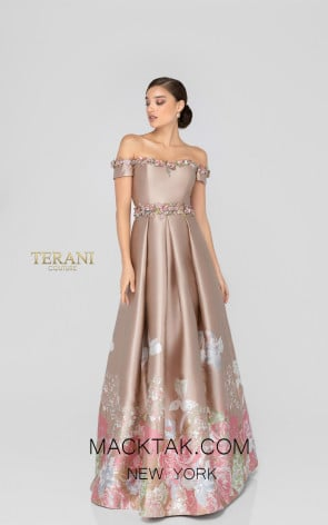 Terani 1911M9661 Champagne Silver Front Evening Dress