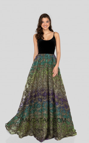 Terani 1911P8483 Black Multi Front Prom Dress