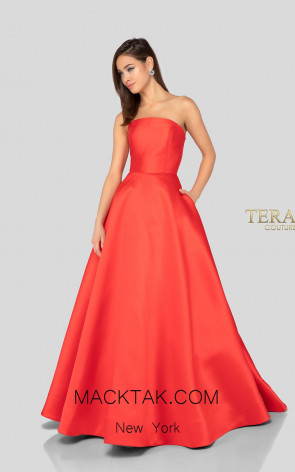 Terani 1912B9691 Bridesmaid Red Front Dress