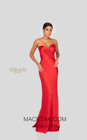 Terani 1912B9705 Bridesmaid Red Front Dress
