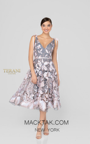 Terani 1912C9044 Blush Silver Front Cocktail Dress