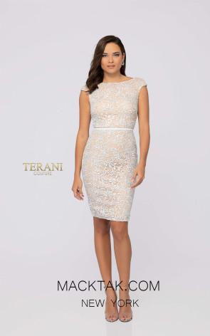 Terani 1912C9053 Dark Silver Front Cocktail Dress