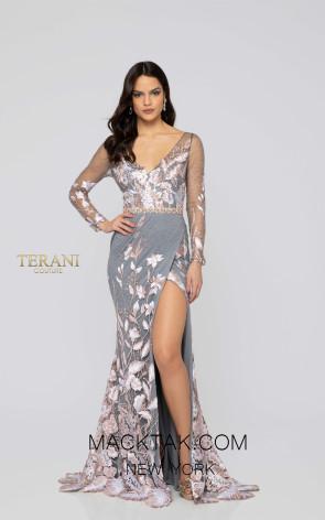 Terani 1912E9159 Blush Silver Front Evening Dress