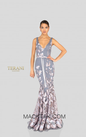 Terani 1912E9160 Blush Silver Front Evening Dress