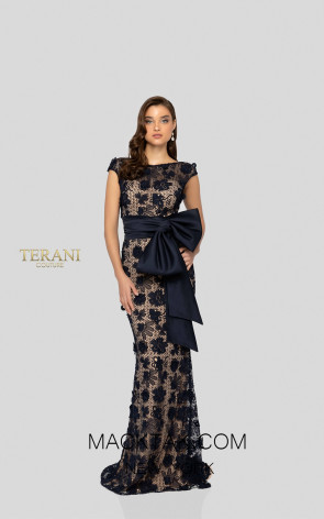 Terani 1912E9175 Navy Front Evening Dress