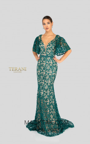 Terani 1912E9177 Emerald Front Evening Dress