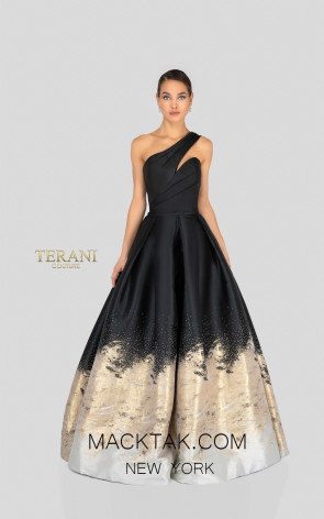 Terani 1912E9180 Black Gold Front Evening Dress