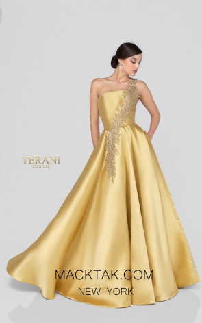 Terani 1912E9202 Gold Front Evening Dress