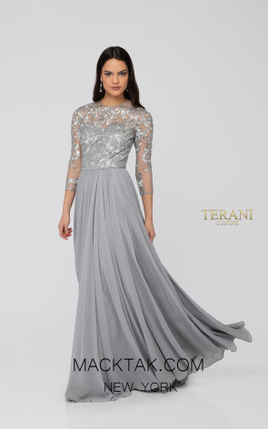 Terani 1912M9346 Silver Silver Front Mother of Bride Dress