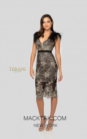 Terani 1913C9062 Black Gold Back Front Cocktail Dress