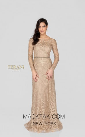 Terani 1913E9229 Gold Nude Front Evening Dress