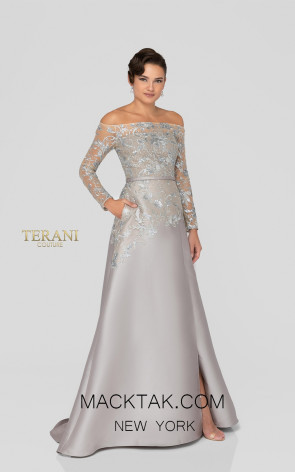 Terani 1913E9230 Silver Nude Taupe Front Evening Dress