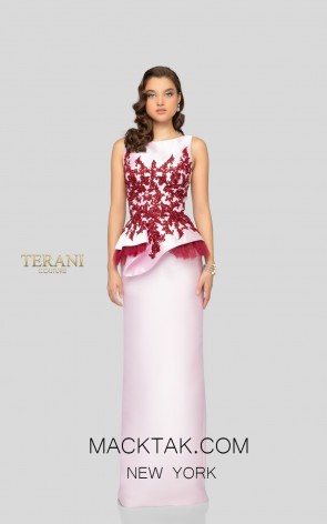 Terani 1913E9244 Pink Wine Front Evening Dress