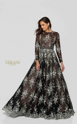 Terani 1913E9251 Black Nude Front Evening Dress
