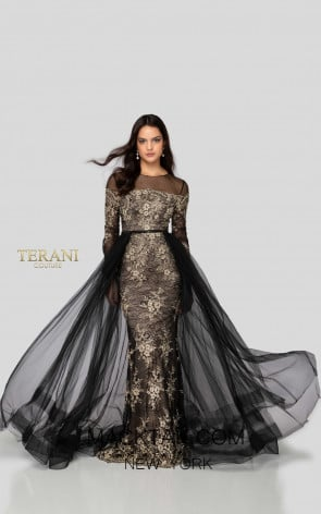Terani 1913E9258 Black Gold Front Evening Dress