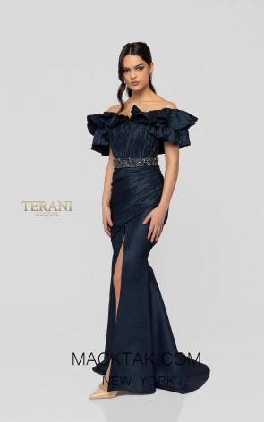 Terani 1913M9411 Navy Front Mother of Bride Dress