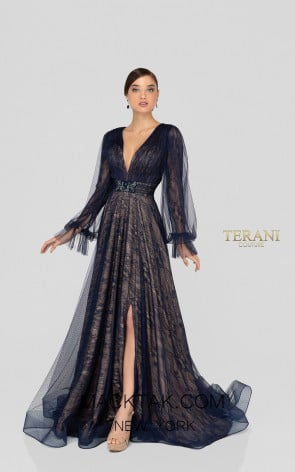 Terani 1913M9414 Mother of Bride Navy Nude Front Dress