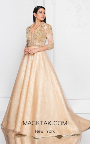 Terani 1813M6715 Champagne Gold Front Dress