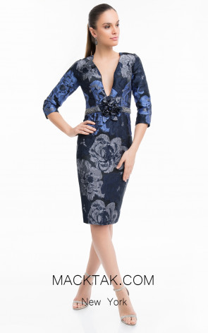 Terani 1821C7020 Navy Silver Front Dress