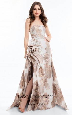 Terani 1821E7123 Ivory Rose Gold Front Dress