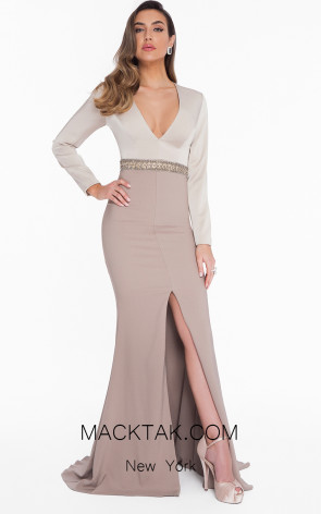 Terani 1821M7581 Champagne Taupe Front Dress