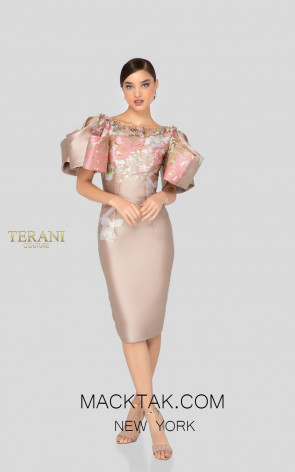 Terani 1911C9005 Champagne Gold Front Cocktail Dress