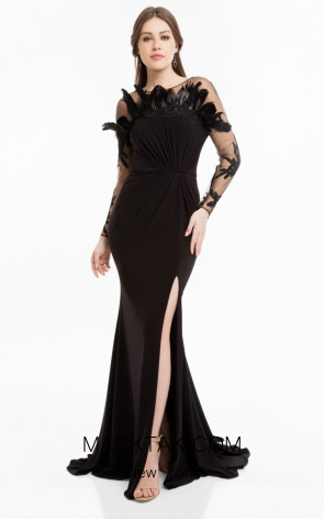Terani 1821E7108 Black Front Evening Dress