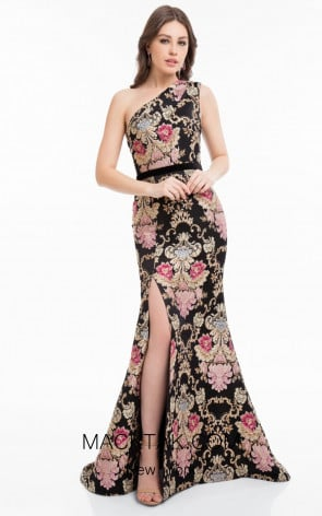 Terani 1821E7115 Black Multi Front Evening Dress